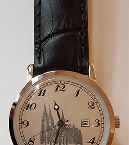 Armbanduhr Dom-Schmuck in Edelstahl mit Lederarmband
