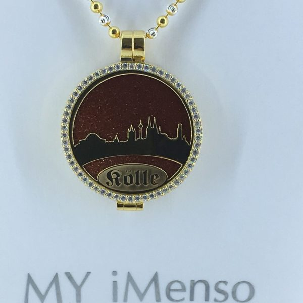 Medaillon Dom-Schmuck-My iMenso mit Skyline in 925/ Silber vergoldet