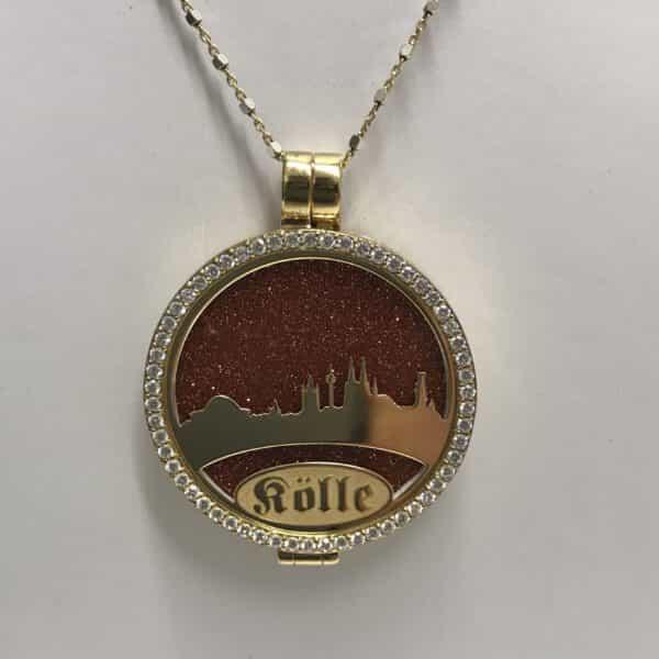 Medaillon Dom-Schmuck-My iMenso mit Skyline 925/ Silber vergoldet