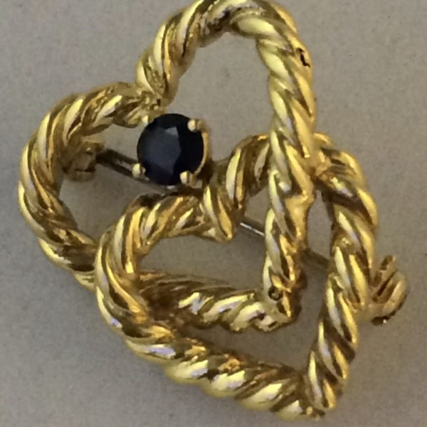 Goldbrosche Tiffany Original 18 Karat/750/Saphir